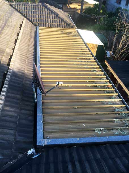 Damaged metal roof