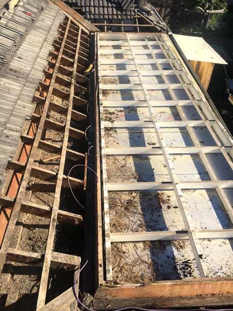 Wooden frame roof