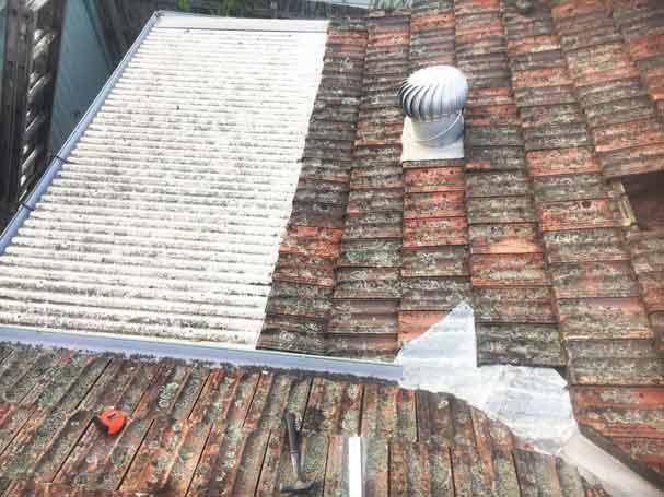 Old leaking metal roof