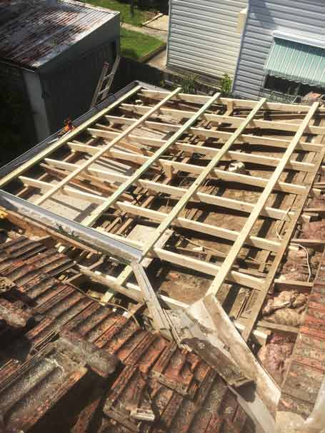 New timber framing for roof